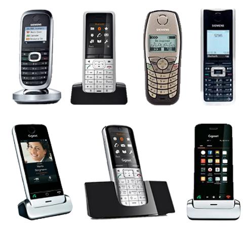 Viele verschiedene Mobilteile von Gigaset die an einer Basis angemeldet werden